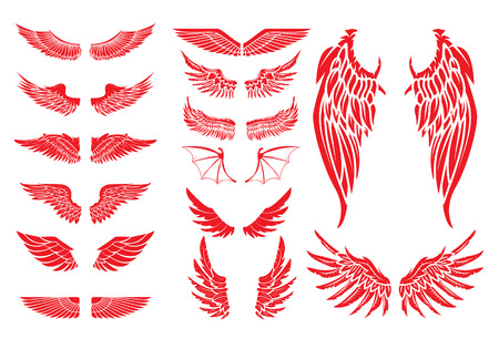 Big set of vector wings isolated on white background. Design elements for label, badge, emblem, sign. Vintage vector element.のイラスト素材