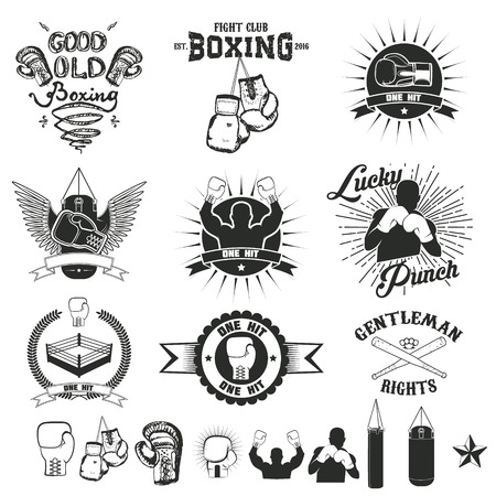 Set of the boxing club labels, emblems and design elements. Vector illustration.