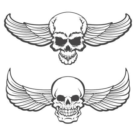skulls with wings. Design element for poster, t-shirt print. Vector illustration.