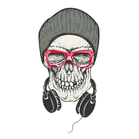 Ilustración de Hipster skull in hat and sunglases. Skull with headphones. Design element for t-shirt print. Vector illustration. - Imagen libre de derechos