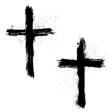 Illustration pour Set of Abstract Grunge Crosses. Vector illustration. - image libre de droit