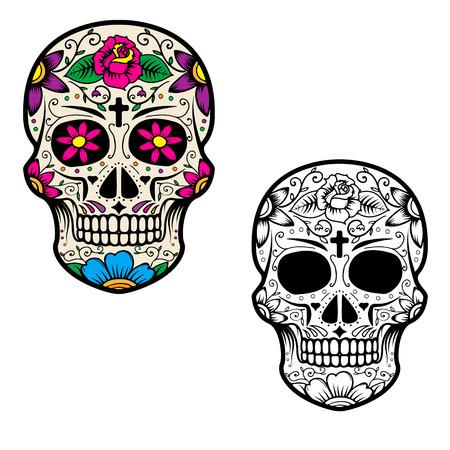 Illustration pour Set of sugar skulls isolated on white background. Day Of The Dead. Dia De Los Muertos. Vector illustration. - image libre de droit