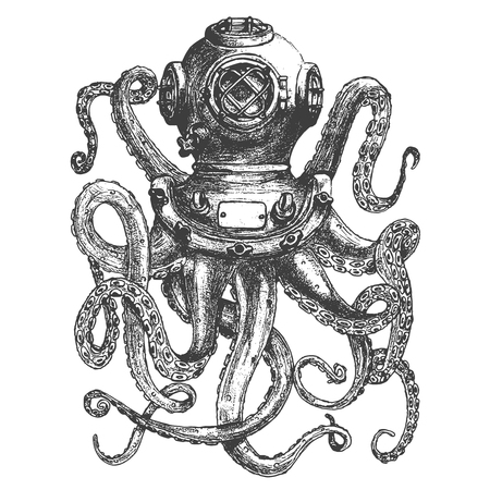 Illustration pour Vintage style diver helmet with octopus tentacles isolated on white background. Design element for poster, t-shirt print. Vector illustration. - image libre de droit