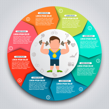 Colorful sport infographic elements  Sportsmen with