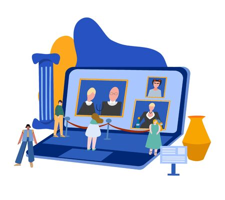 Illustration pour Concept for online events in museums and galleries. The online exhibition. - image libre de droit