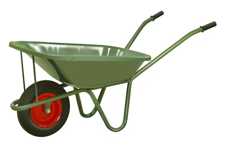 vector realistic green wheelbarrow on white background