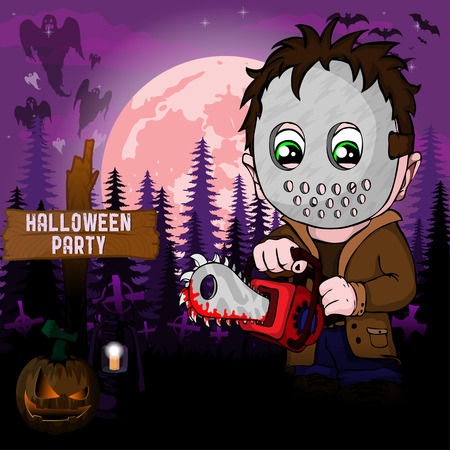 Illustration pour Halloween Party Design template, with serial killer with mask - image libre de droit