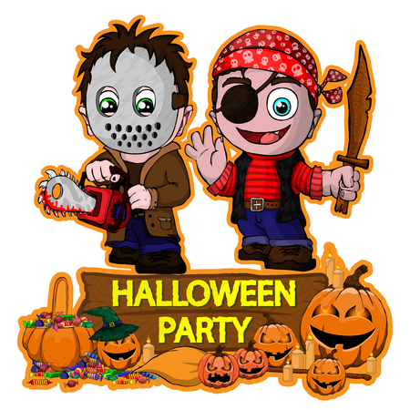 Illustration pour Halloween poster design with vector killer with mask and Pirate characters - image libre de droit