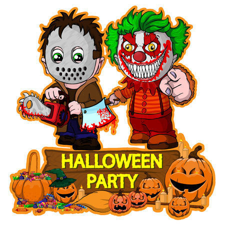 Illustration pour Halloween poster design with vector killer with mask and evil clown characters - image libre de droit