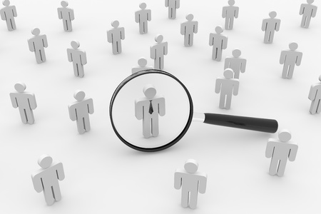 People or Employee Search. 3D render image. Concept.