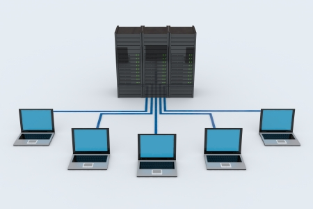 Computer Network with server on white background. 3D reder image.