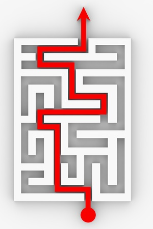 Red arrow going through the maze. Path across labyrinth. Computer generated image.