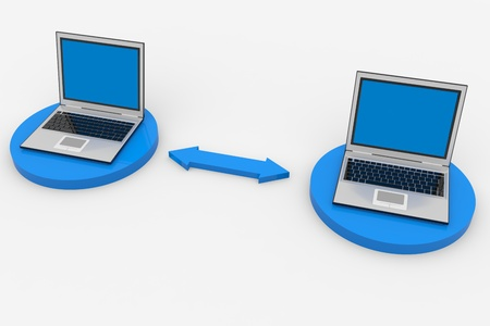Two connected laptops. Computer network. Computer generated image.