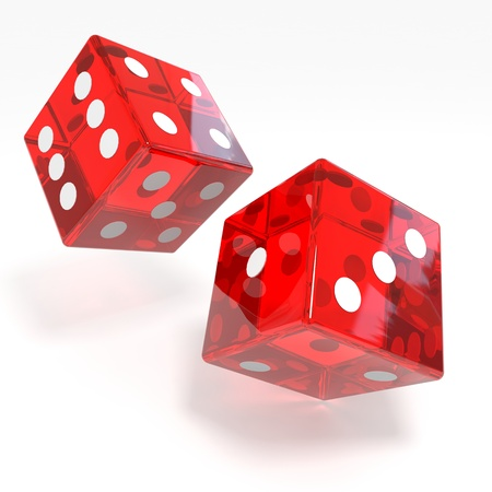 Red dices isolated on white. Computer generated image.