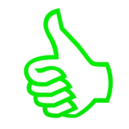 Green thumbs up on white. Computer generated image.