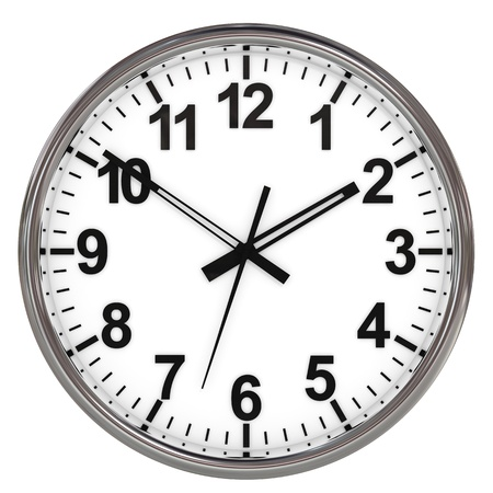 Clock on white background. Computer generated image.