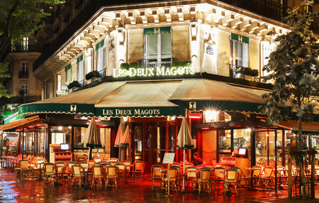 The famous cafe at rainy night,Paris, France.