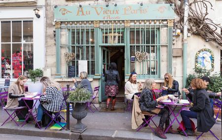 The traditional French cafe Au viex Paris dArcole ,Paris, France.
