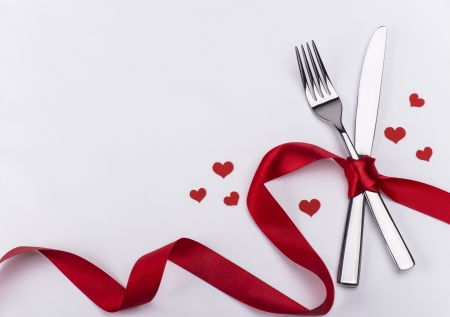 Valentines day silverware set
