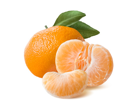 Photo pour Whole mandarin peeled half and slice isolated on white background as package design element - image libre de droit