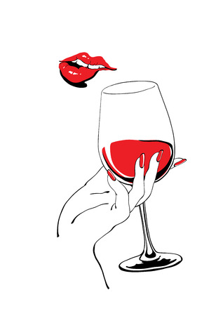 Illustration pour Playful red lips and glass of wine holding hand vector illustration for party poster design - image libre de droit