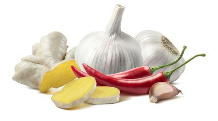 Foto für Ginger garlic chili composition isolated on white background as package design element - Lizenzfreies Bild