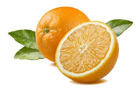 Fresh whole orange half piece with leaves and water drops isolated on white background as package design element