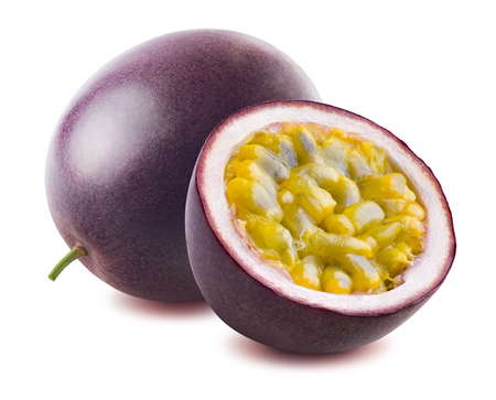 Photo for Passion fruit passionfruit maraquia whole half isolated on white background as package design element - Royalty Free Image