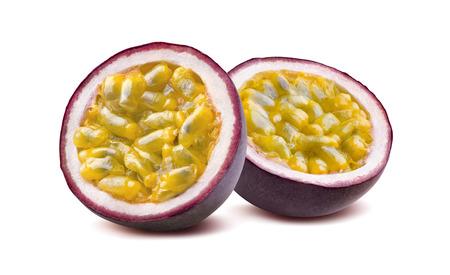 Photo pour Maraquia passion fruit 2 halves isolated on white background as package design element - image libre de droit