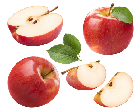 Photo for Red apple whole pieces set isolated on white background as package design element - Royalty Free Image