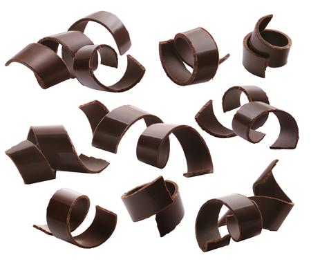Photo pour Dark chocolate curls set 2 isolated on white background - image libre de droit