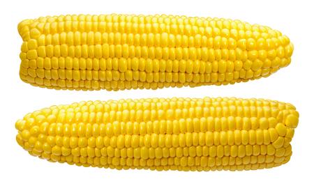 Foto für 2 corn ears no leaves isolated on white background as package design element - Lizenzfreies Bild