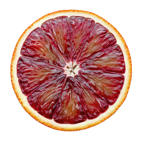 Foto per Red blood orange slice isolated on white background as package design element - Immagine Royalty Free