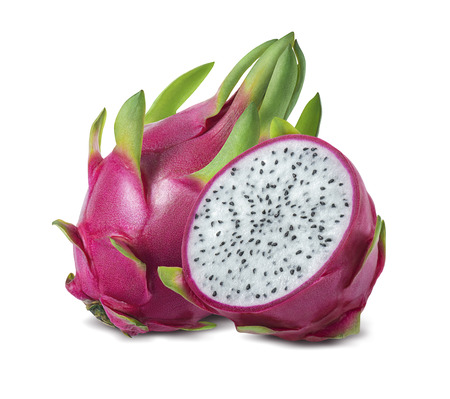 Foto de Dragon fruit or pitaya isolated on white background as package design element - Imagen libre de derechos