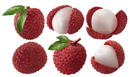 Photo pour Fresh lychee with leaves set isolated on white background as package design elements - image libre de droit