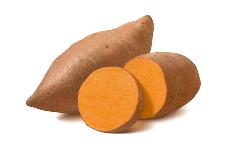 Photo pour Whole sweet potato and slices isolated on white background. - image libre de droit