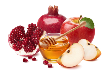 Photo pour Jewish New Year composition. Pomegranate, red apple and honey isolated on white background. Package design element with clipping path - image libre de droit