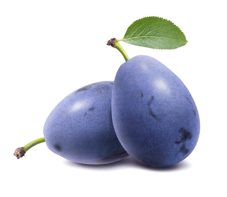 Foto de Blue plums isolated on white background. - Imagen libre de derechos
