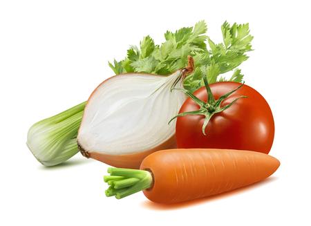 Foto für Celery, onion, carrot, tomato. Soup ingredients isolated on white background. - Lizenzfreies Bild