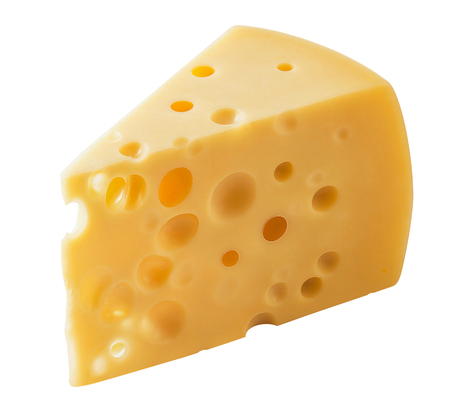 Foto de Block of Swiss cheese isolated on white background. - Imagen libre de derechos