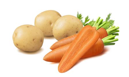 Foto für Potatoes and carrots isolated on white - Lizenzfreies Bild