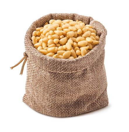 Photo pour Pine nuts in burlap bag isolated on white - image libre de droit