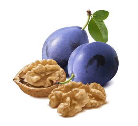 Photo pour Walnut nuts and plums isolated on white background. Package design element with clipping path - image libre de droit
