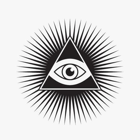 All seeing eye symbol, star shape, vector illustration