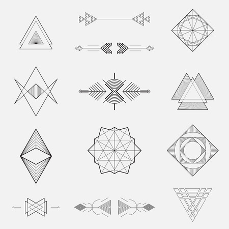 Ilustración de Set of geometric shapes, triangles, line design, vector - Imagen libre de derechos
