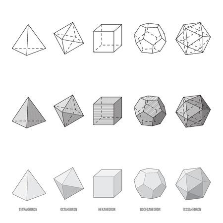 Ilustración de Platonic solids, vector illustration - Imagen libre de derechos