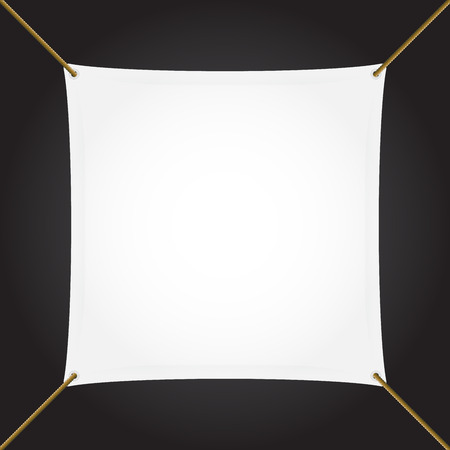 Textile banner with copy space, square, vector