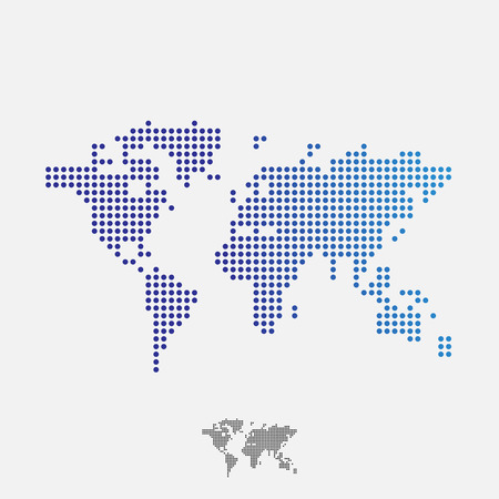 Abstract world map, dots, vector