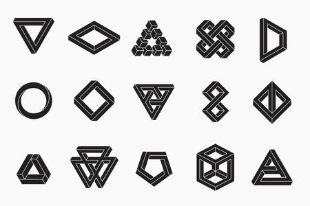 Illustration pour Set of impossible shapes, vector, un-expanded strokes, EPS 10 - image libre de droit