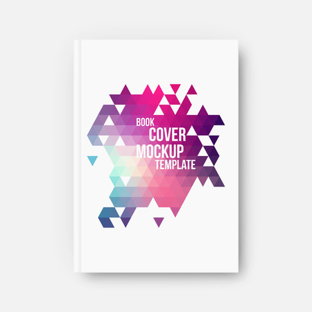 Ilustración de Book cover, mockup template, vector illustration with abstract geometric background - Imagen libre de derechos
